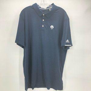 Adidas Mens Polo Shirt Blue Black Short Sleeve XL